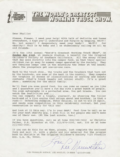 LEE MERIWETHER - TYPED LETTER SIGNED