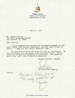 ORRIN G. HATCH - TYPED LETTER TWICE SIGNED 04/01/1993