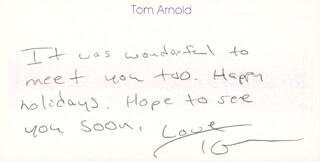 TOM ARNOLD - AUTOGRAPH NOTE SIGNED