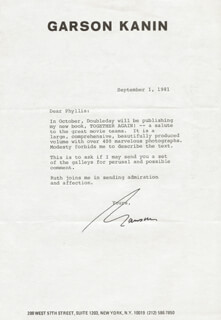 GARSON KANIN - TYPED NOTE SIGNED 09/01/1981
