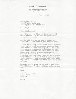 ART LINKLETTER - TYPED LETTER SIGNED 06/04/1997