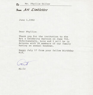 ART LINKLETTER - TYPED LETTER SIGNED 06/01/1992