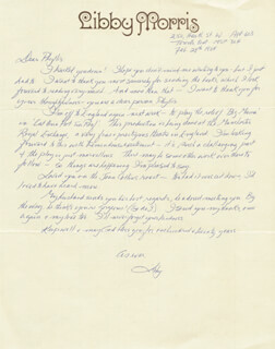 LIBBY MORRIS - AUTOGRAPH LETTER SIGNED 02/29/1984 CO-SIGNED BY: PHYLLIS DILLER