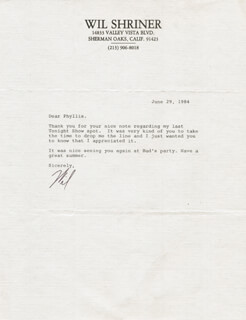 WIL SHRINER - TYPED LETTER SIGNED 06/29/1984