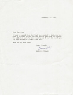 ELEANOR VALLEE - TYPED LETTER SIGNED 11/11/1995