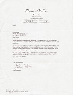ELEANOR VALLEE - TYPED LETTER SIGNED 05/02/2002