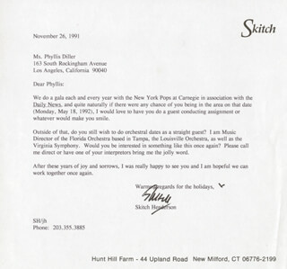 SKITCH HENDERSON - TYPED LETTER SIGNED 11/26/1991