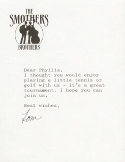 SMOTHERS BROTHERS (TOM SMOTHERS) - TYPED LETTER SIGNED