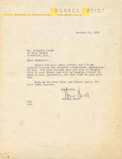 HORACE HEIDT - TYPED LETTER SIGNED 10/12/1949