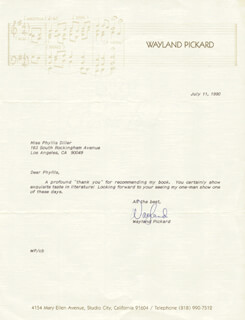 WAYLAND PICKARD - TYPED LETTER SIGNED 07/11/1990