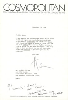 HELEN GURLEY BROWN - TYPED LETTER SIGNED 11/15/1984