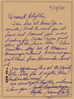 JIM BAILEY - AUTOGRAPH LETTER SIGNED 09/19/1980