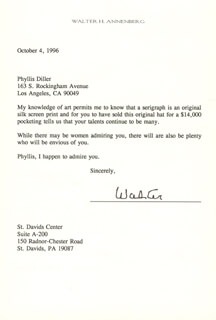 Autographs: WALTER H. ANNENBERG - TYPED LETTER SIGNED 10/04/1996
