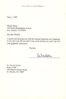 Autographs: WALTER H. ANNENBERG - TYPED LETTER SIGNED 05/01/1995