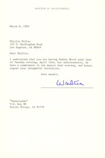 Autographs: WALTER H. ANNENBERG - TYPED LETTER SIGNED 03/08/1993