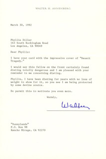 Autographs: WALTER H. ANNENBERG - TYPED LETTER SIGNED 03/30/1992