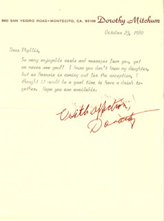 DOROTHY (MRS. ROBERT MITCHUM) MITCHUM - TYPED LETTER SIGNED 10/23/1980