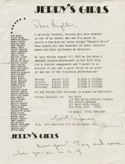 JERRY HERMAN - TYPED LETTER SIGNED CIRCA 1981