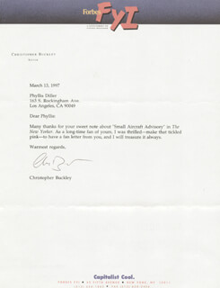 CHRISTOPHER BUCKLEY - TYPED LETTER SIGNED 03/13/1997