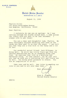 ALAN K. SIMPSON - TYPED LETTER SIGNED 08/11/1996