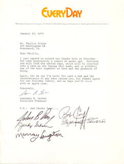 EVERYDAY TV CAST - TYPED LETTER SIGNED 01/29/1979 CO-SIGNED BY: MURRAY LANGSTON, STEPHANIE EDWARDS, BOB CORFF, JUDY GIBSON, JOHN BENNETT PERRY, LAURENCE R. FERBER