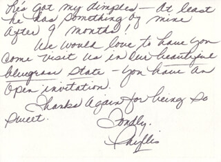 PHYLLIS GEORGE - AUTOGRAPH LETTER SIGNED CIRCA 1980  - HFSID 270480