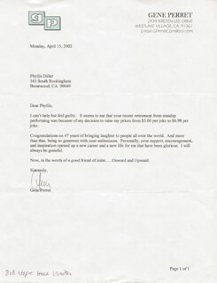 GENE PERRET - TYPED LETTER SIGNED 04/15/2002