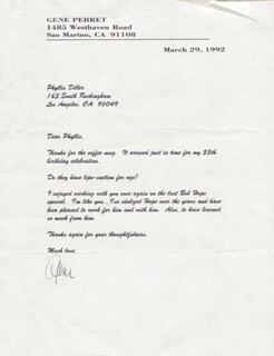 GENE PERRET - TYPED LETTER SIGNED 03/29/1992