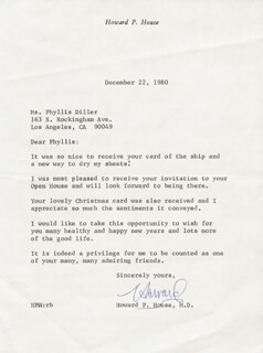 HOWARD P. HOUSE - TYPED LETTER SIGNED 12/22/1980