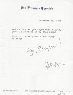 HERB CAEN - TYPED NOTE SIGNED 12/19/1995