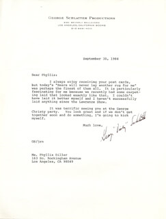GEORGE SCHLATTER - TYPED LETTER SIGNED 09/30/1984