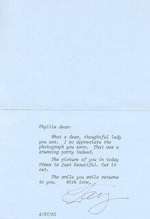 KAY (MRS. CLARK) GABLE - TYPED LETTER SIGNED 04/27/1981