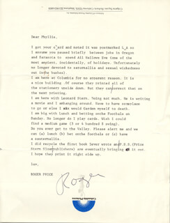 ROGER PRICE - TYPED LETTER SIGNED
