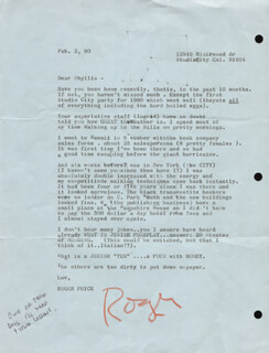 Autographs: ROGER PRICE - ORIGINAL ART ON TYPED LETTER SIGNED 02/02/1980