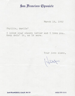 HERB CAEN - TYPED NOTE SIGNED 03/19/1992