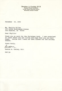 DR. DENTON A. COOLEY - TYPED LETTER SIGNED 12/15/1993