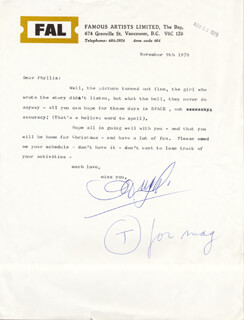 HUGH PICKETT - TYPED LETTER SIGNED 11/09/1979