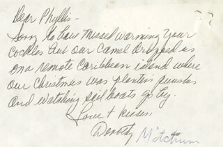 DOROTHY (MRS. ROBERT MITCHUM) MITCHUM - AUTOGRAPH LETTER SIGNED