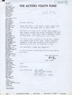 JOEY ADAMS - TYPED LETTER SIGNED CIRCA 1976