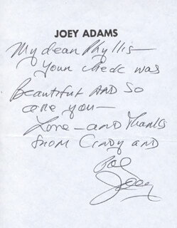 JOEY ADAMS - AUTOGRAPH LETTER SIGNED