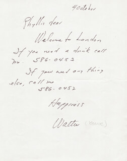 WALTER KEANE - AUTOGRAPH LETTER SIGNED 10/4