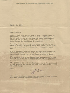 JAMES KIRKWOOD JR. - TYPED LETTER SIGNED 04/12/1981