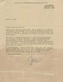 JAMES KIRKWOOD JR. - TYPED LETTER SIGNED 03/01/1981