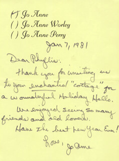 JOANNE WORLEY - AUTOGRAPH LETTER SIGNED 01/07/1981