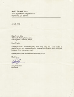 Autographs: ANDY GRANATELLI - TYPED LETTER SIGNED 06/08/1992