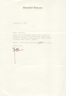 ROBERT DOLCE - TYPED LETTER SIGNED 01/05/1981
