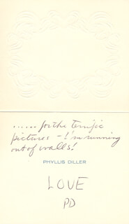 PHYLLIS DILLER - AUTOGRAPH NOTE SIGNED 09/12/1980 CO-SIGNED BY: WARD GRANT