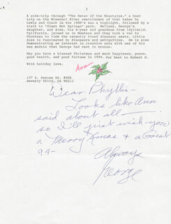 GEORGE MONTGOMERY - AUTOGRAPH LETTER SIGNED 12/14/1993 CO-SIGNED BY: ANN LINDBERG