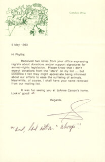 GRETCHEN WYLER - TYPED LETTER SIGNED 05/05/1993