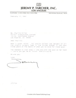 JEREMY P. TARCHER - TYPED LETTER SIGNED 05/05/1993